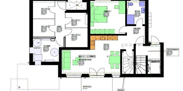 Grundriss Haus 2 2.5 Zimmer