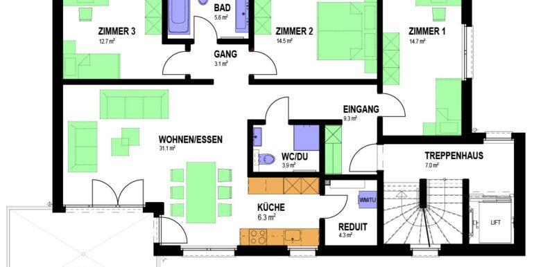 Grundriss Haus 2 4.5 Zimmer